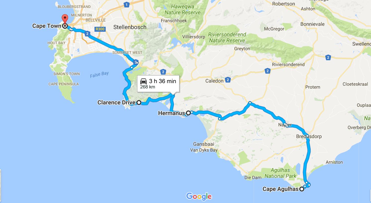 mapa_cape_town_para_cape_agulhas_passando_clarens_drive
