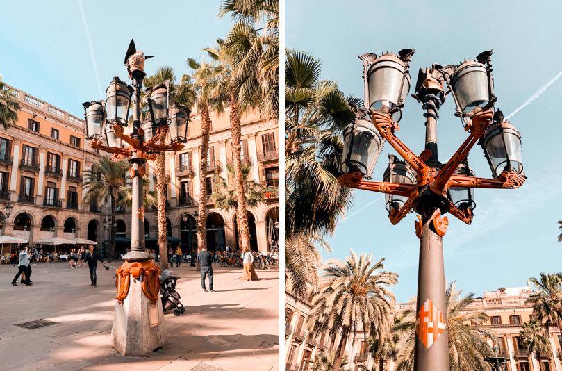 Roteiro-gaudi-em-barcelona-poste-praça-real