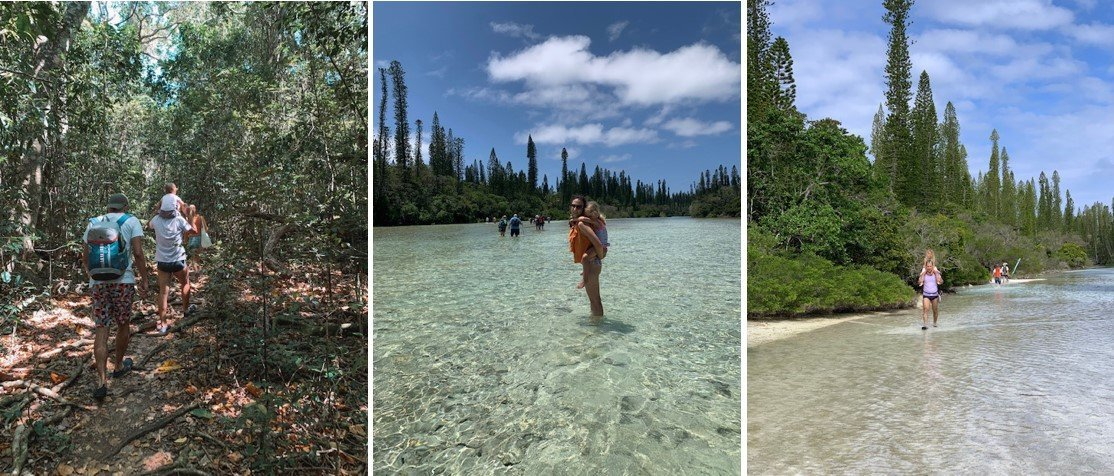 trilhas e caminhada para chegar na piscina natural na ilha dos pinhos